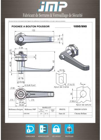 Poignée béquille 1095-990 à bouton poussoir - Plan Technique