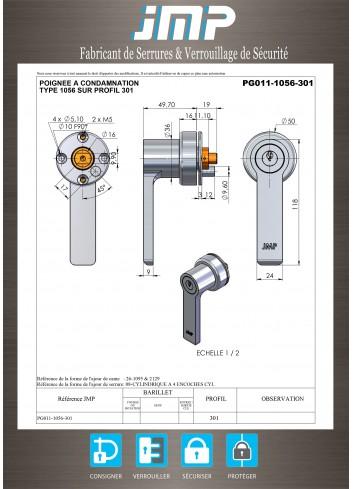 Poignée béquille PG11-1056 - Plan Technique