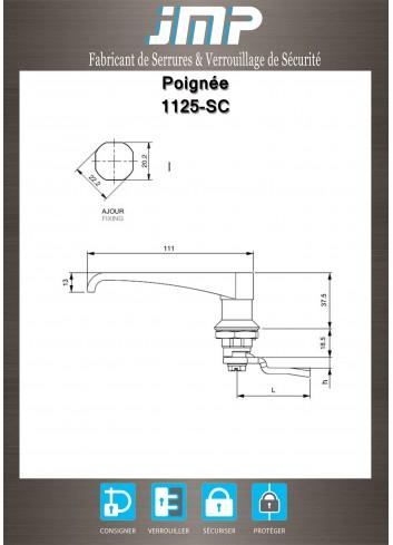 Poignée Bec de cane 1125-SC - Sans Condamnation - Plan Technique
