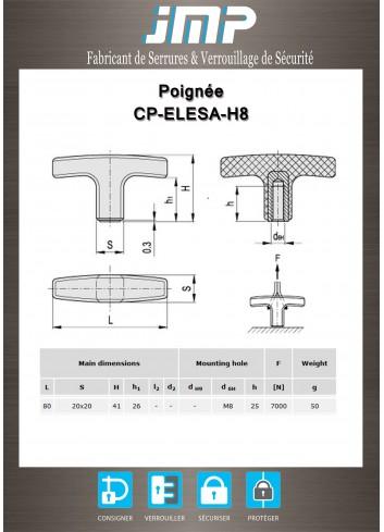 Poignée de manoeuvre CP-ELESA-H8 - Plan Technique