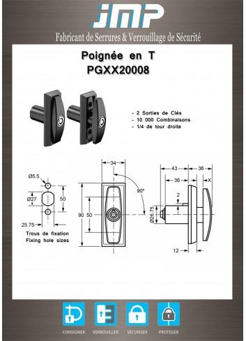 Poignée en T PGXX20008 - Plan Technique