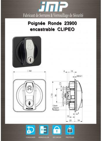 Poignée ronde encastrable CLIPEO 23900 - Plan Technique