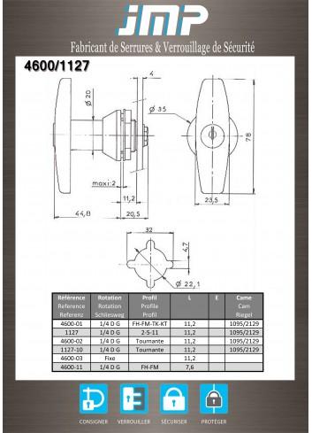 Poignée T 1127-10 - Plan Technique