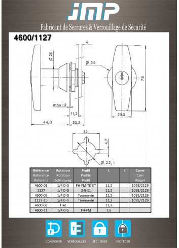 Poignée T 1127-15 - Plan Technique