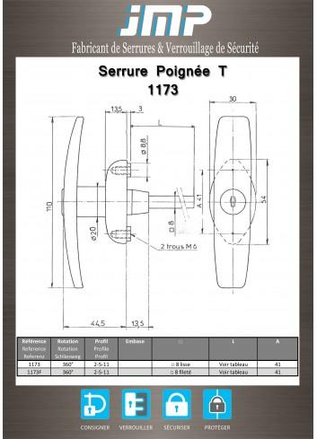 Poignée T 1173 - Plan Technique