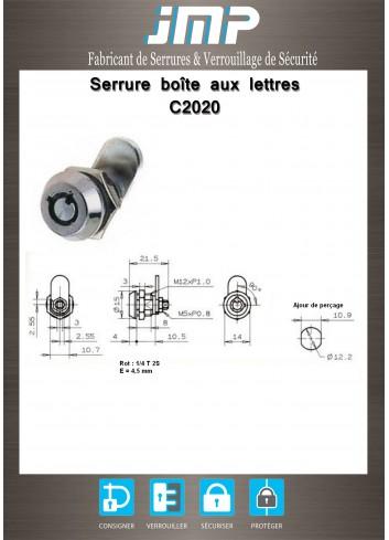 Serrure à came batteuse C2020 clé tubulaire - Plan Technique
