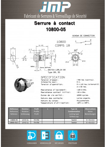 Serrure à contact 10800-05 - 2 positions - Plan Technique