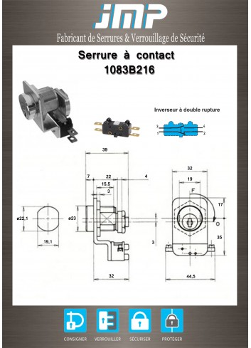 Serrure à contact 1083B216 - Contacteur électrique piston à impulsion - Plan Technique