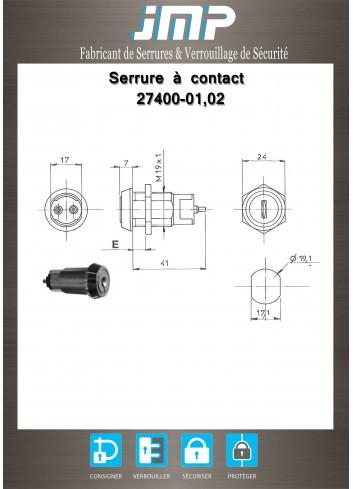 Serrure à contact 27400 - switch ON-OFF - Plan Technique