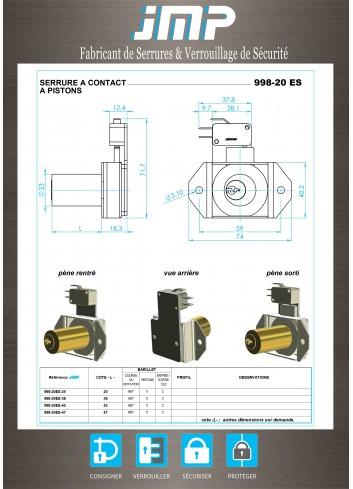 Serrure à contact 998-20ES - Plan Technique