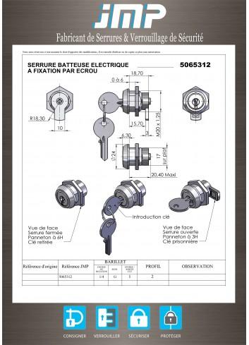 Serrure à contact batteuse électrique 5065312 - fixation par ecrou - Plan Technique