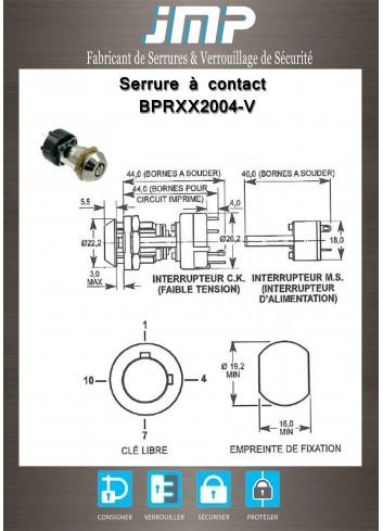 Serrure à contact électrique BPRXX2004 à pistons radiaux 1/4 TD 2S - Plan Technique