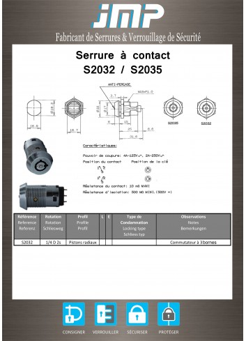 Serrure à contact Switch S2032 - Plan Technique
