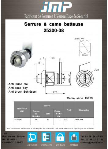 Serrure à came batteuse 25300-38 - Plan Technique