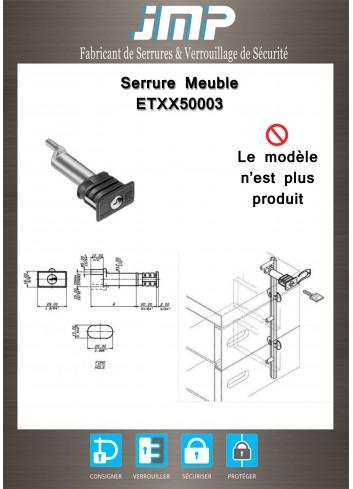 Serrure entrainement ETXX50003 pour meuble - Plan Technique