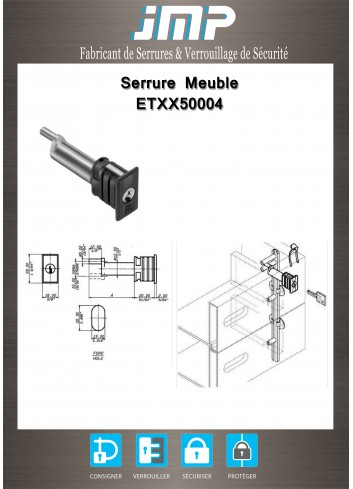 Serrure entrainement ETXX50004 pour meuble - Plan Technique