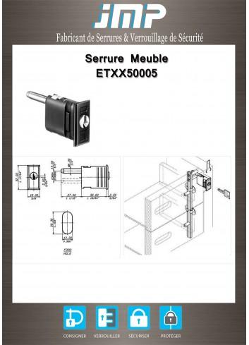 Serrure entrainement ETXX50005 pour meuble - Plan Technique