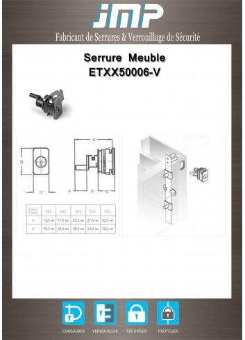 Serrure entrainement ETXX50006-V pour meuble - Plan Technique