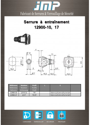 Serrure à entraînement 12900-10, 17 pour meuble - Plan Technique