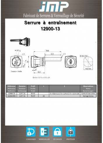 Serrure à entraînement 12900-13 pour meuble - Plan Technique