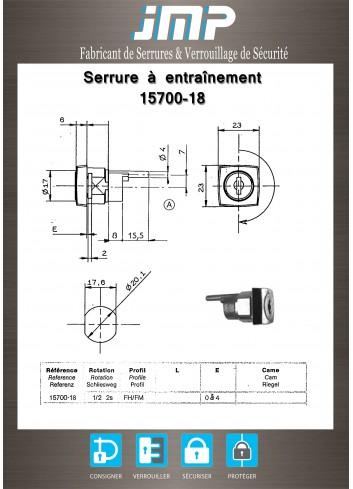 Serrure à entraînement 15700-18 pour meuble - Plan Technique