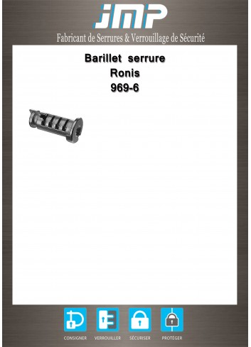 Barillet serrure 969-6 Ronis - Plan Technique