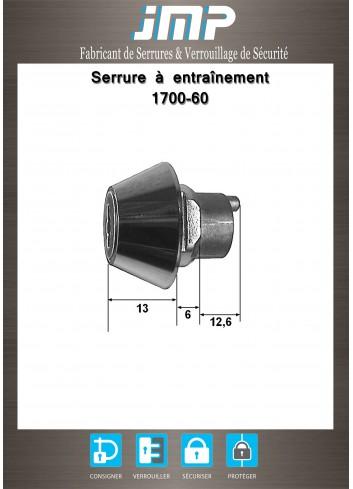 Serrure à entraînement 1700-60 pour meuble - Plan Technique