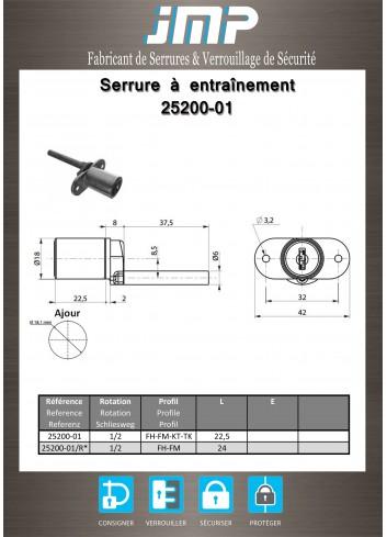 Serrure à entraînement 25200-01 pour meuble - Plan Technique