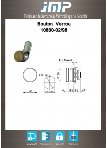 Verrou-bouton 10800-02-98 - came non sertie - Plan Technique