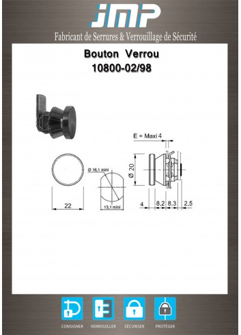 Verrou-bouton 10800-02-99 - came sertie - Plan Technique