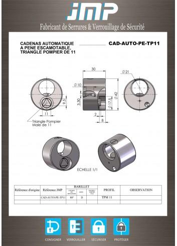 Cadenas Auto triangle Pompier de 11 (pour barre) - Plan Technique