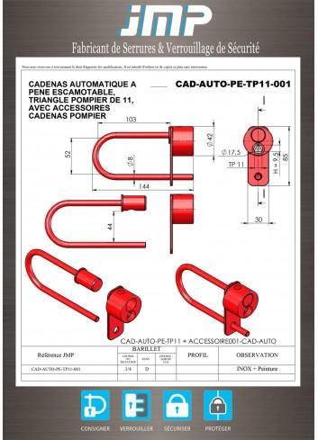 Cadenas Auto triangle Pompier de 11 avec anse - Plan Technique