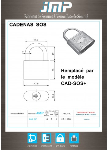 Cadenas consignation SOS - combinaisons électriques - Plan Technique