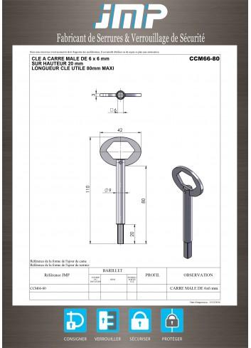 Clé CCM66-80 à carré mâle de 6x6 mm - Plan Technique