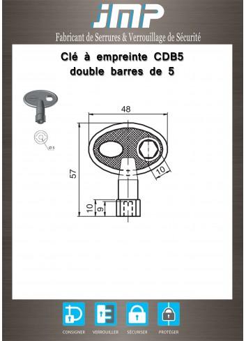 Clé à empreinte CDB5 double barres de 5 - Plan Technique