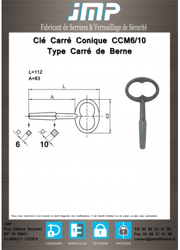 Clé Carré Conique CCMC6-10 Carré de Berne - Plan Technique
