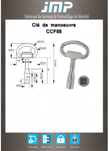 Clé CCF88 carré femelle 8x8 et 7x7 - Plan Technique