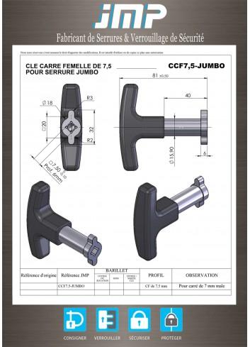 Clé CCF7,5 pour carré mâle de 7 mm poignée T - Plan Technique