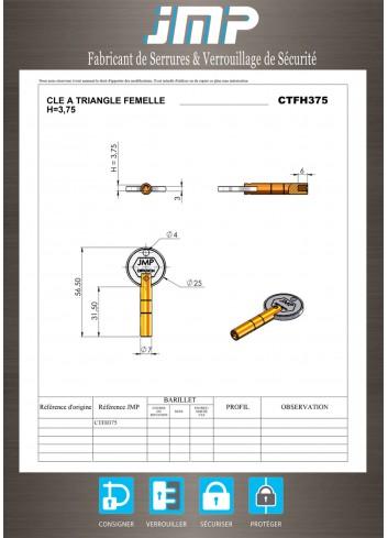 Clé triangle CTFH375 femelle 3,75 en métal longue - Plan Technique