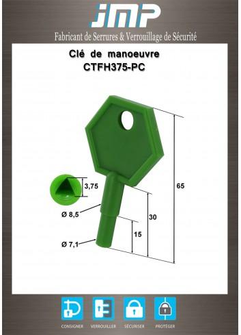 Clé CTFH375-PC triangle femelle 3,75 en plastique courte - Plan Technique