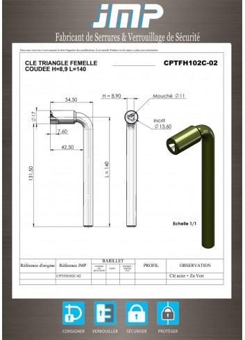 Clé triangle CPTFH102C-02 femelle coudée TP11 - Plan Technique