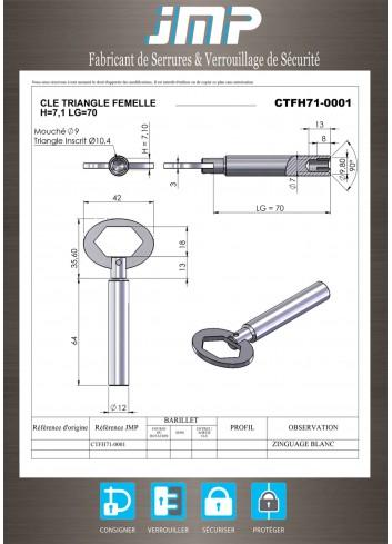 Clé triangle CTFH71 femelle H7,1 Lg70 - Plan Technique