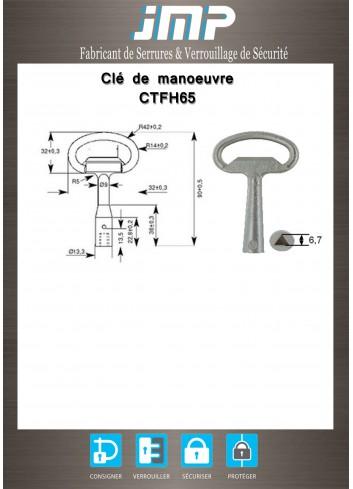 Clé CTFH65 zamak à triangle femelle de 6,5 mm - Cnomo 1 - Plan Technique