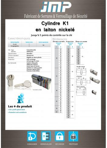 Cylindre Européen K1 (Cylindre de sécurité) - Plan Technique