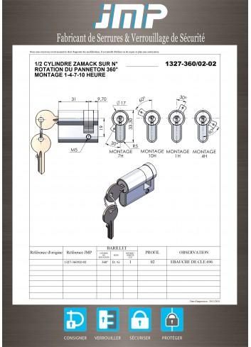 1/2 Cylindre Européen 1327-360-02-02 avec panneton - Plan Technique