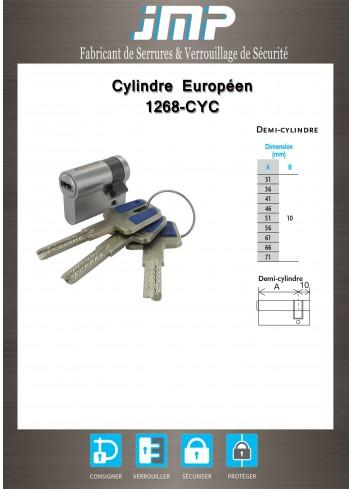 1/2 Cylindre serrure 1268-CYC à clé sécurisée breveté carte de propriété - Plan Technique