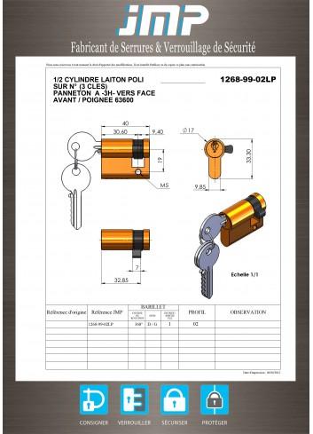 1/2 cylindre serrure 1268-99-02LP panneton à 3h - Plan Technique