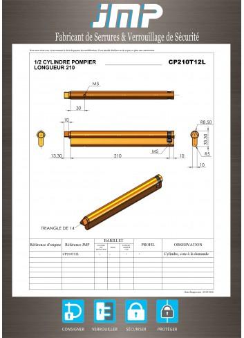 1/2 Cylindre Européen CP210T12L triangle pompier de 14 Lg  210 mm - Plan Technique