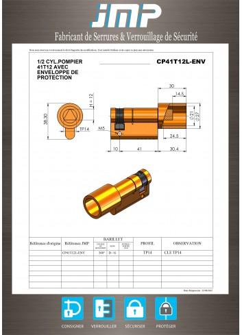 Cylindre Européen 1/2 triangle pompier de 14 - Plan Technique
