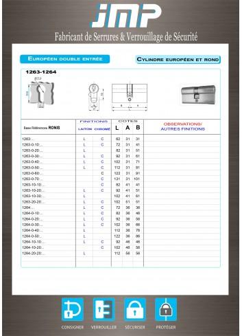 Cylindre Européen 1263 avec pignon 14 dents - Plan Technique